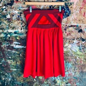 Silence & Noise Red Strapless Dress Cut Out Back